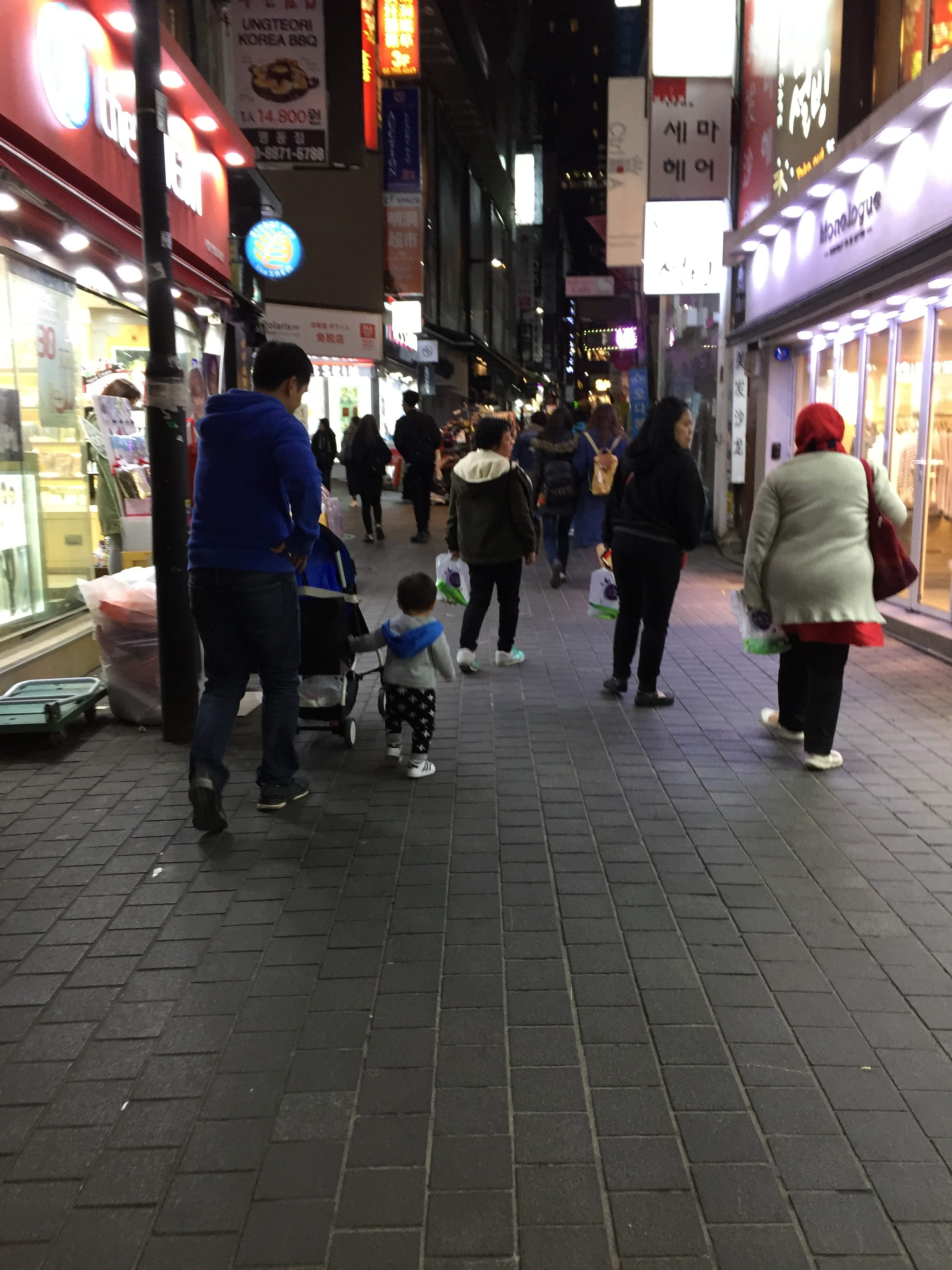 Shopping in Myeong-dong with Daddy Z and Baby Z